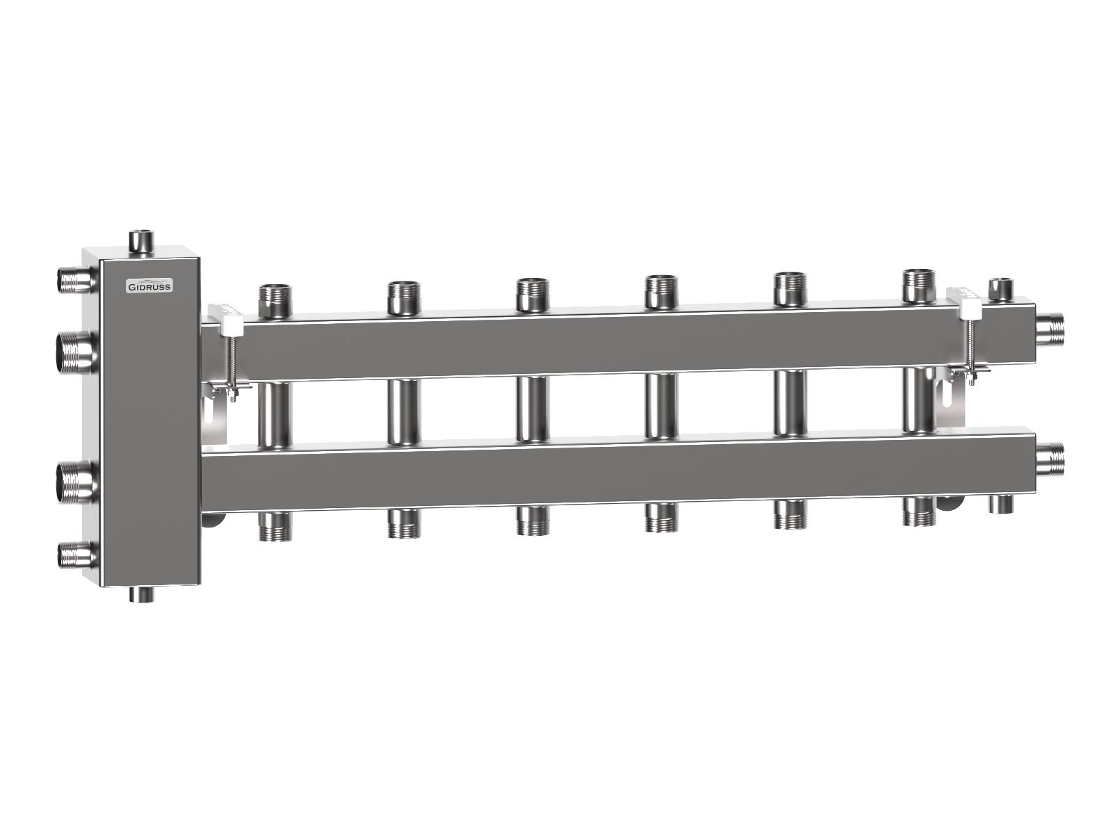 Гидрострелка с коллектором отопления на 7 контуров из нержавеющей стали